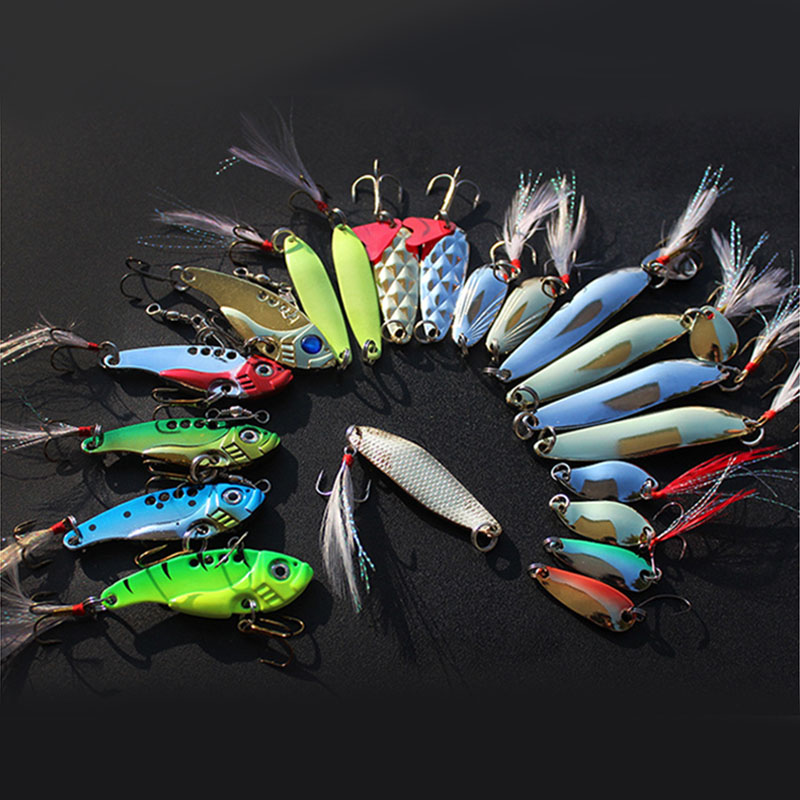20Pcs Box Metal Fishing Lures Set Spoon VIB Lure with Feather Artificial Lure Fishing Bait in Plastic Box Fishing Accessories in Fishing Lures from Sports Entertainment