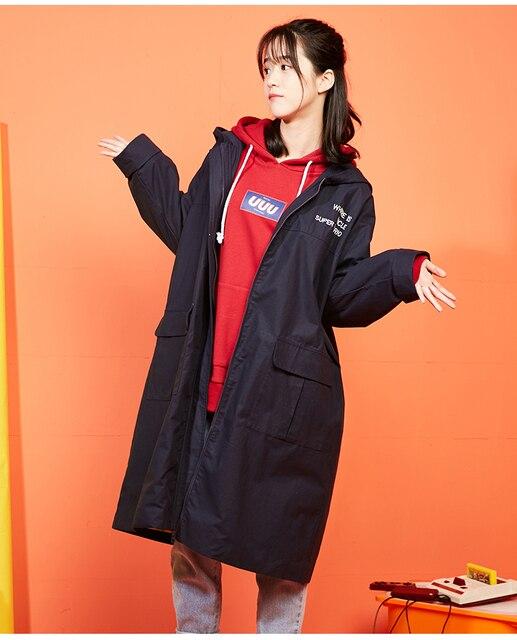 Mùa thu Winter2018 Phụ Nữ Dài Trench Coat Đội Mũ Trùm Đầu Outwear Phim Hoạt Hình Màu Xanh Chữ Thêu Casual Loose Đội Mũ Trùm Đầu Áo Gió Áo Khoác