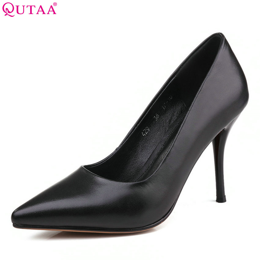 QUTAA 2018 Women Pumps Genuine Leather+Pu Fashion Platform Pointed Toe Thin High Heel Women Shoes Black Sexy OL Pumps Szie 34-39 zorssar brand fashion sexy thin heels women pumps pointed toe genuine leather platform high heel shoes red women wedding shoes