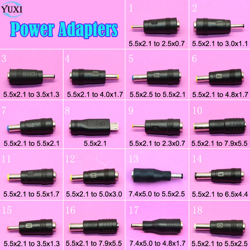 YuXi 5.5x2.1mm / 7.4x5.0mm To 5.5x2.5mm / 4.8x1.7mm Male Plug Laptop DC Power Adapter Converter Connector For HP DELL Lenovo ...