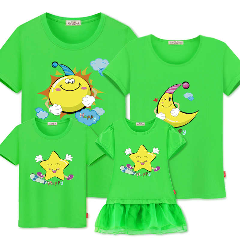 เสื้อยืดสำหรับครอบครัวพ่อแม่ลูกสาวเด็กทารกชุดคู่ชุด sun moon star เด็กจับคู่ชุดครอบครัว