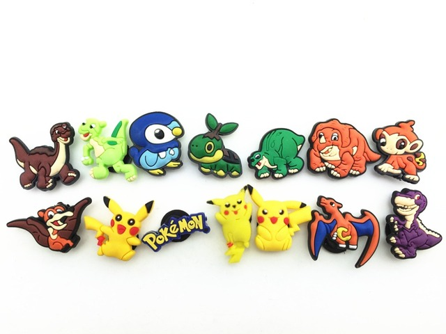 7b72ef61aa229 14 Pcs PVC Pokemon Pikachu the Dinosaur Shoe accessories Shoe Charms Shoe  Decorations for Croc Bracelet Wristband Kid Gift