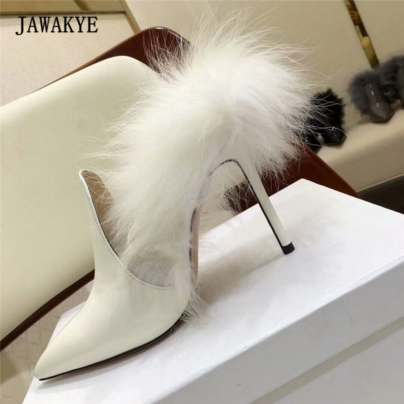 2018 Fox Fur Gladiator Sandals Women Pointed Toe Thin High Heel Shoes Woman Fashion Patent Leather Party Shoes new butterfly wings gladiator women sandals pointed toe high heels pumps patent leather ankle strap thin heel party shoes