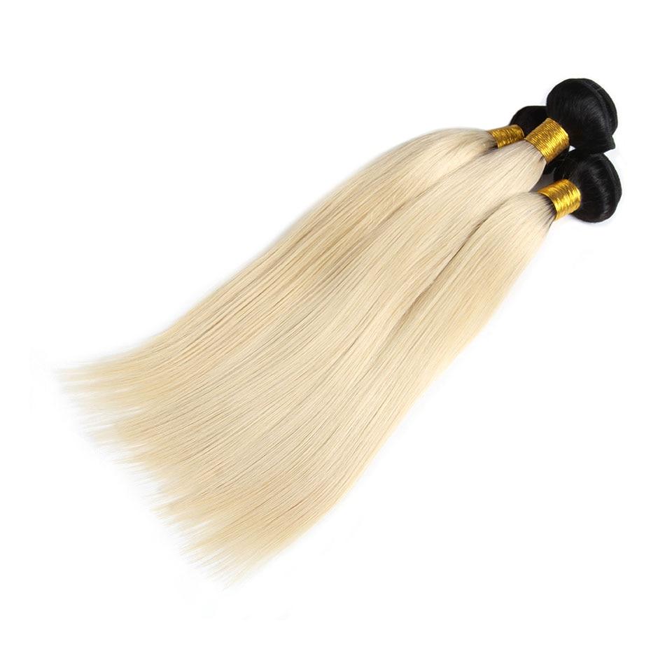 Pre Colored honey blonde hair bundles Straight Wave 1B 613 Non remy Brazilian human hair