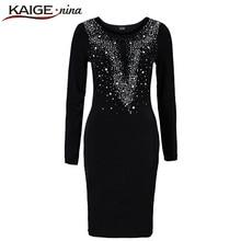 KAIGE NINA Women Autumn&Winter Sexy Mesh Dress Casual Knee-Length Fashion Dress O-Neck Plus Size Slim Dress Vestido 2163