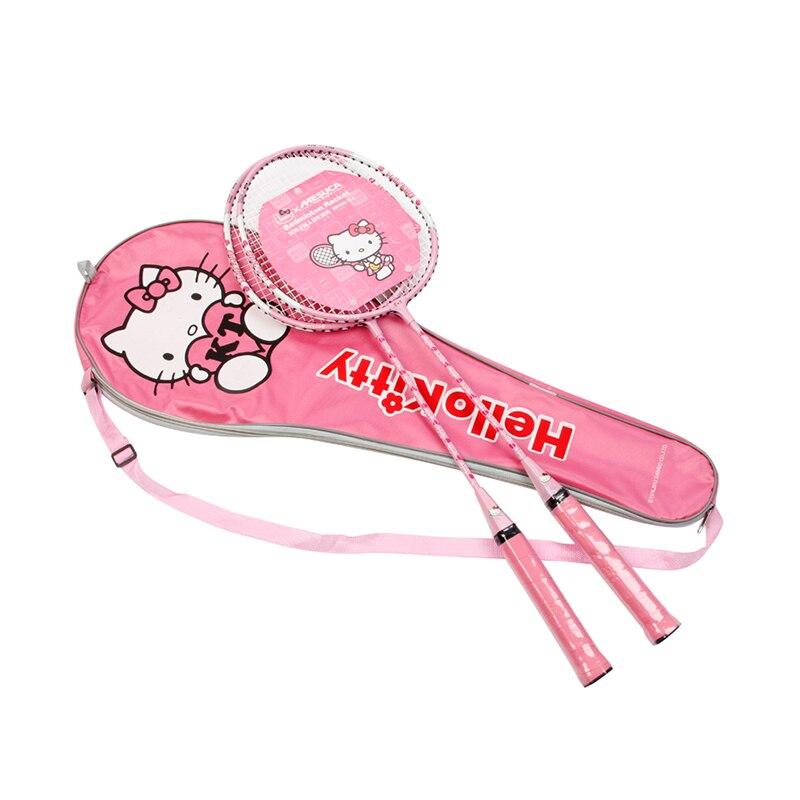 Рисунок «Hello Kitty» розового цвета для девочек Алюминий Бадминтон ракетки обучение Battledore ракетка с носит мешок
