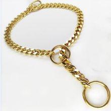 03bd221b5abd Oro collar de perro P cadena Collares 3.0mm Acero inoxidable perro cadena  de metal perro entrenamiento hierro Collares para perr.
