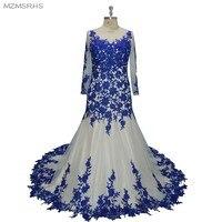 MZMSRHS Long Roay Blue Mermaid Evening Dress 2017 Ever Pretty Women Elegant O Neck Long Sleeve