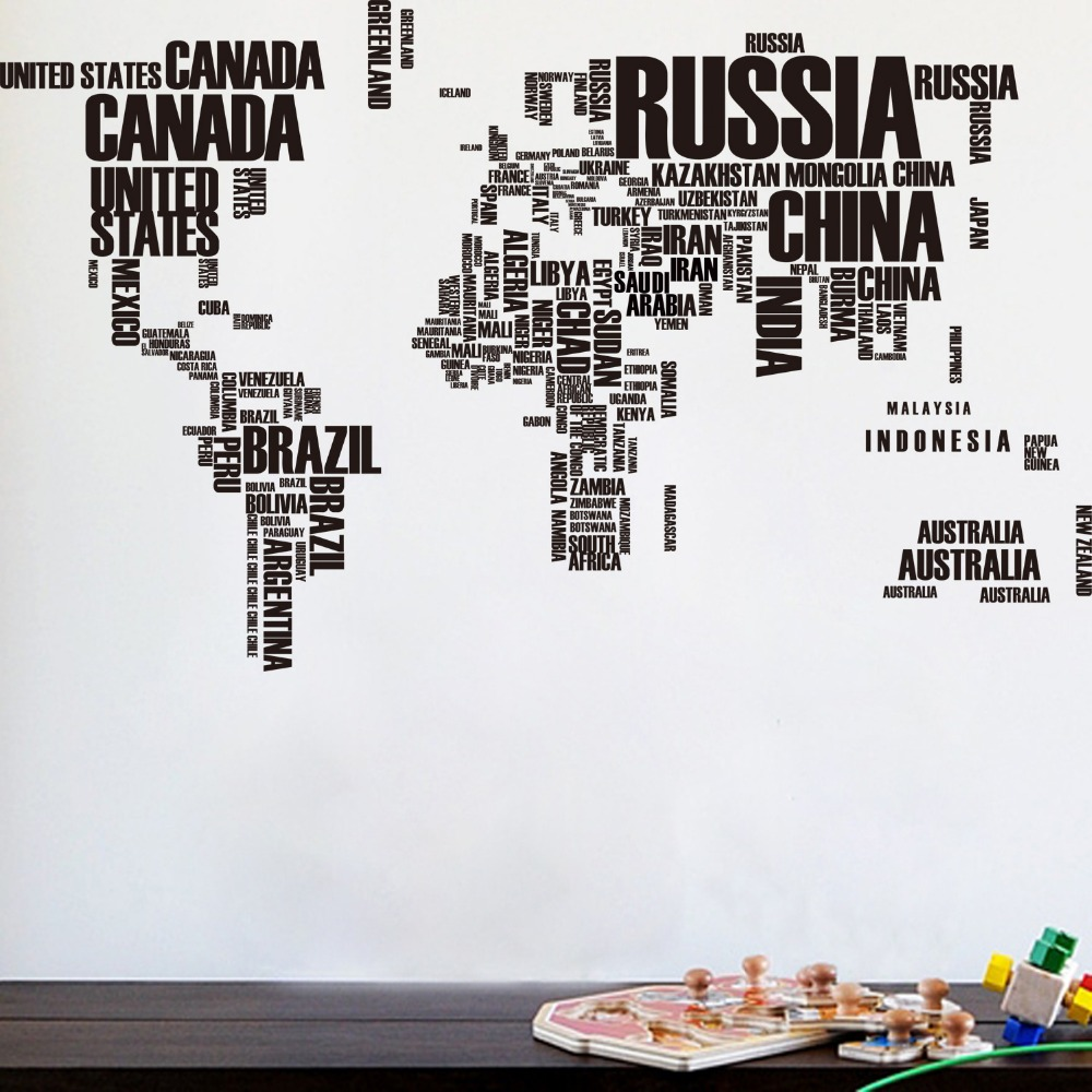 World Map Wall Sticker with Text Country Names Words  Home Decor Decal UK