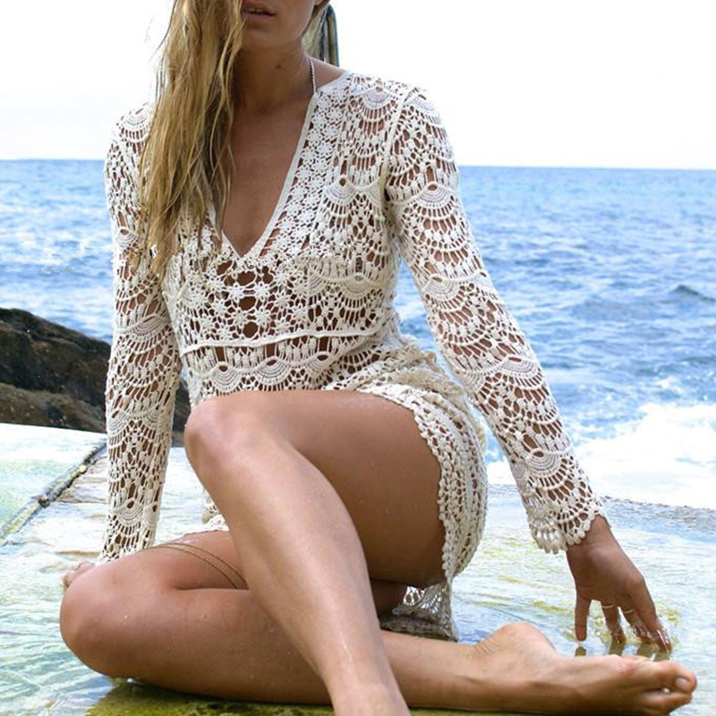 hot sale 2018 Summer Womens Beach Dress Swimwear Lace Crochet Bikini BathingSuit dress long sleeve v neck short dress vestidos