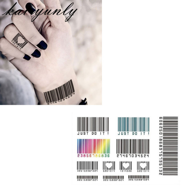 29dfe6474 5PCS Personality Temporary Barcode Tattoo Waterproof Tattoo Stickers Body  Painting Sep 1