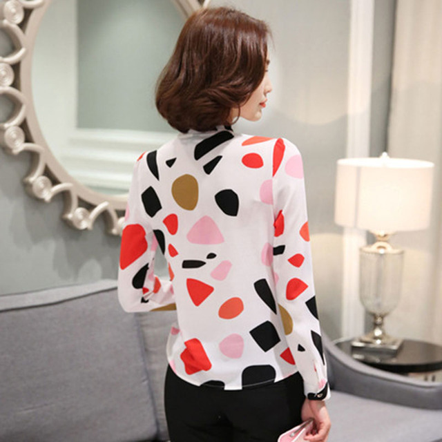 New arrival fashion  Chiffon Shirt Long Sleeve  polka dot women blouses casual bow lady shirt large size DD2357 4