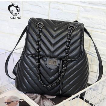 2f6e98092577 fashion women backpack high quality youth lingge leather backpacks ...