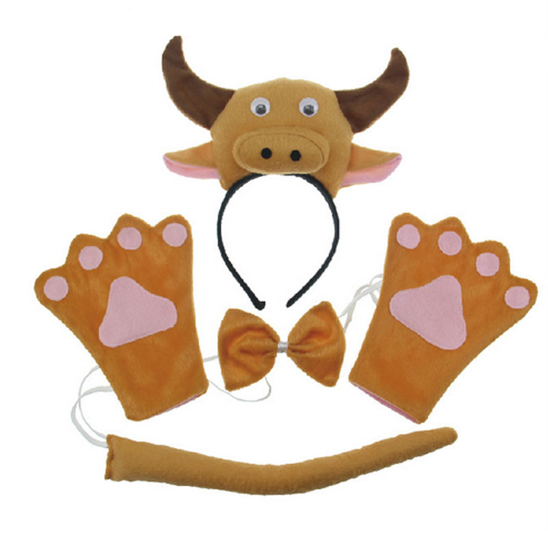▻2018 niños 3D ganado animales diadema lazo cola patas Guantes ...