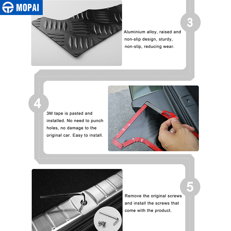 Image 5 - MOPAI Steel Door Sill Scuff Plate Car Interior Rear Bumper Protector Rear Inner Guard Plate for Suzuki Jimny Car Accessories-in Chromium Styling from Automobiles & Motorcycles