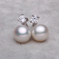 925 Silver Real Natural Big 8mm 9mm A Bright Pearl Genuine Natural Freshwater Pearl Earrings 925