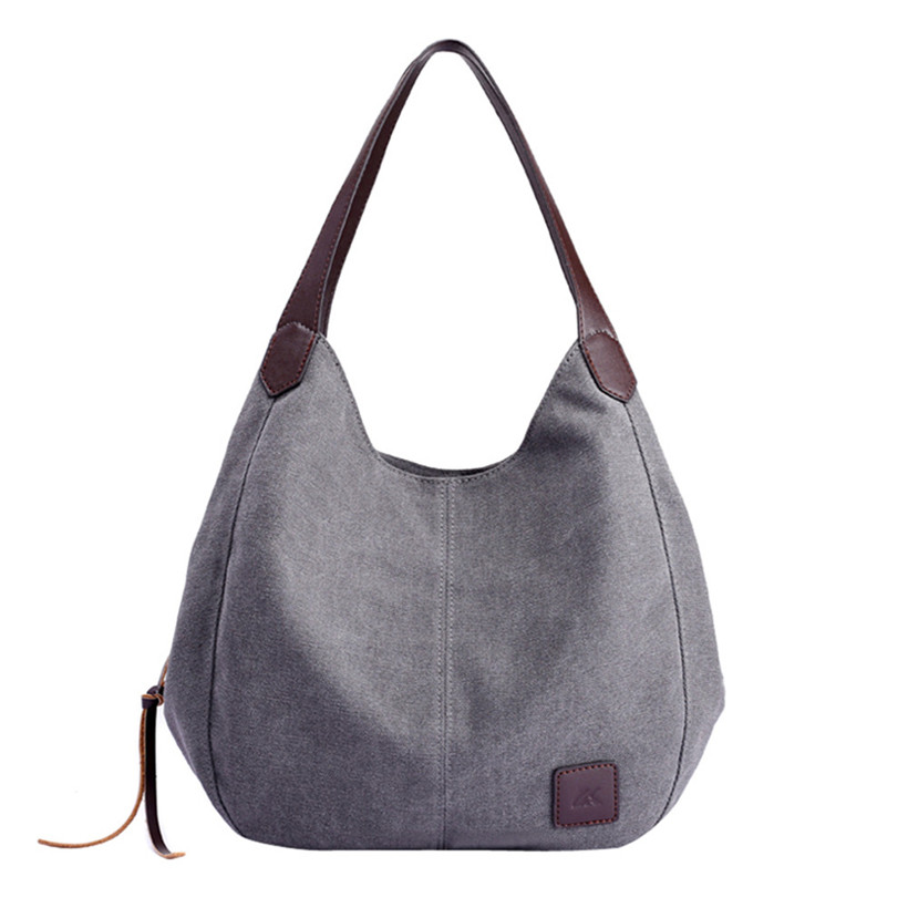 Women's Canvas Handbags Hobos Single Shoulder Bags Vintage Solid Multi-Pocket Ladies Totes Bolsas