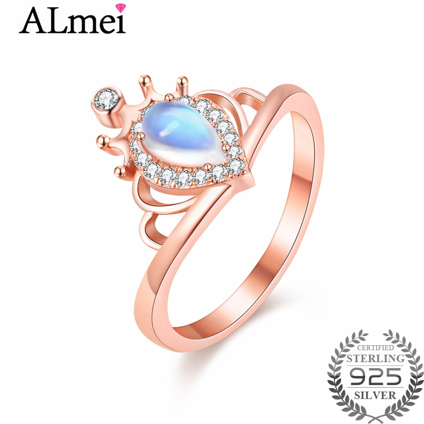 Almei Natural Teardrop Moonstone Wedding Ring Handmade Rose Gold Color Blue Strong Bright Ring Jewelry for Women with BoxCJ032Almei Natural Teardrop Moonstone Wedding Ring Handmade Rose Gold Color Blue Strong Bright Ring Jewelry for Women with BoxCJ032