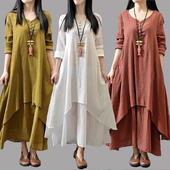 2018 Autumn Womens Large Size Loose Dresses Femme Casual Cloth for Pregnant Women Fashion Double-Layer Linen Robe Plus Size