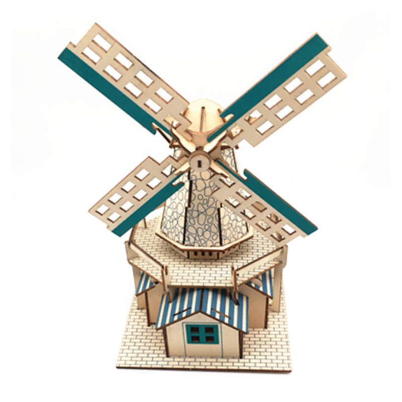 DIY Model Toys 3D Wooden Puzzle Three Dimensional Dutch Windmill Wooden Kits Puzzle Game Assembling Toys Gift For Kids Adult P32