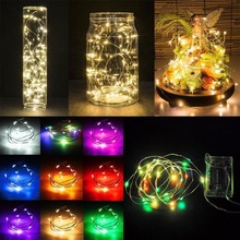 купить 5M 50 LED Battery Operated LED Copper Wire String Lights for Xmas Garland Party Wedding Decoration Christmas Fairy Lights дешево