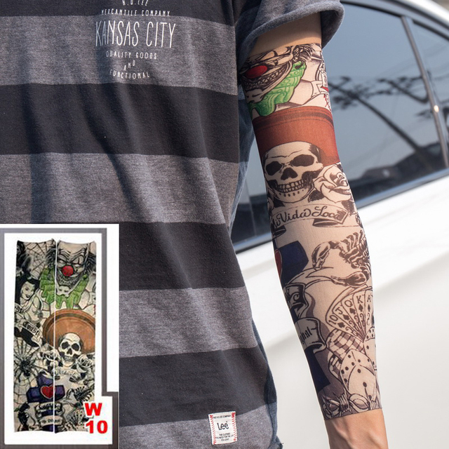 Full Arm Tattoo Sleeves Elastic Fake 100 Nylon Arm Stockings Skull