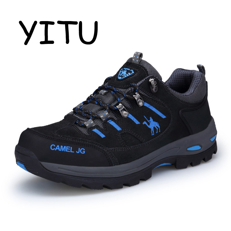 YITU Breathable Trekking Shoes Sport Black Hiking Shoes Men Waterproof Outdoor Mountain Shoes Climbing Hunting Boots