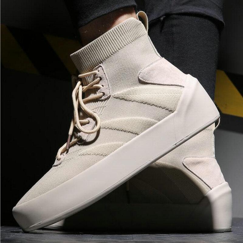 Mode hommes chaussures décontractées fond épais mâle haut haut stretch tissu appartements garçons espadrilles décontractées garder au chaud fourrure Tenis chaussures LH-99