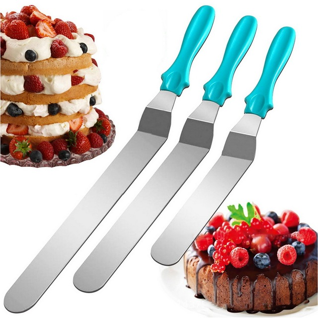 IVYSHION 3pcs Stainless Steel Cake Spatula Butter Cream Icing Frosting Knife Smoother Kitchen Pastry Cake Decoration Tools