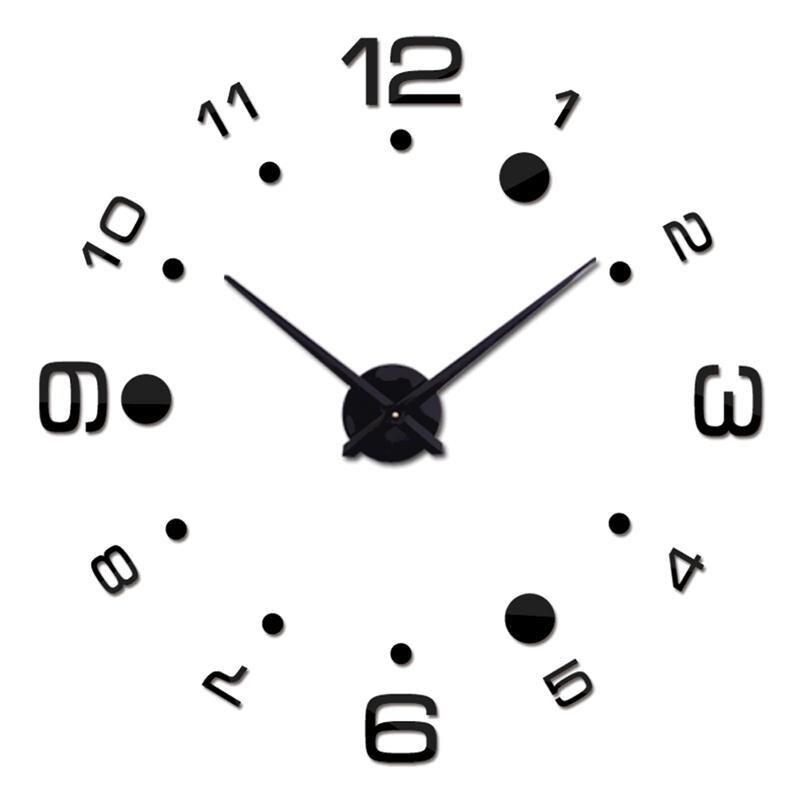 100% Waar 3d Moderne Muur Frameloze Klok Acryl Spiegel Metalen Grote Diy Muurstickers Decoratie (zwart)