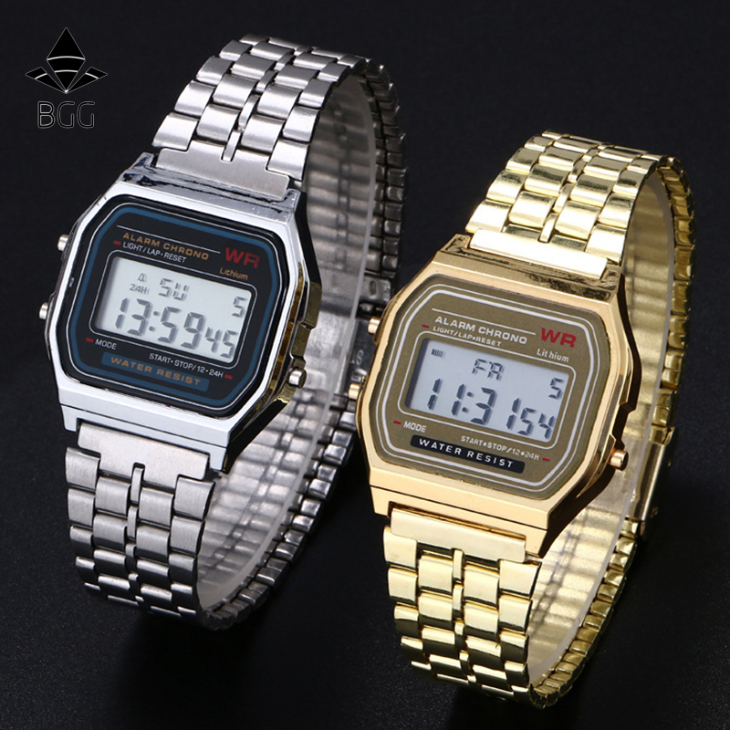 fashion digital watches 2016 new casual gold silver