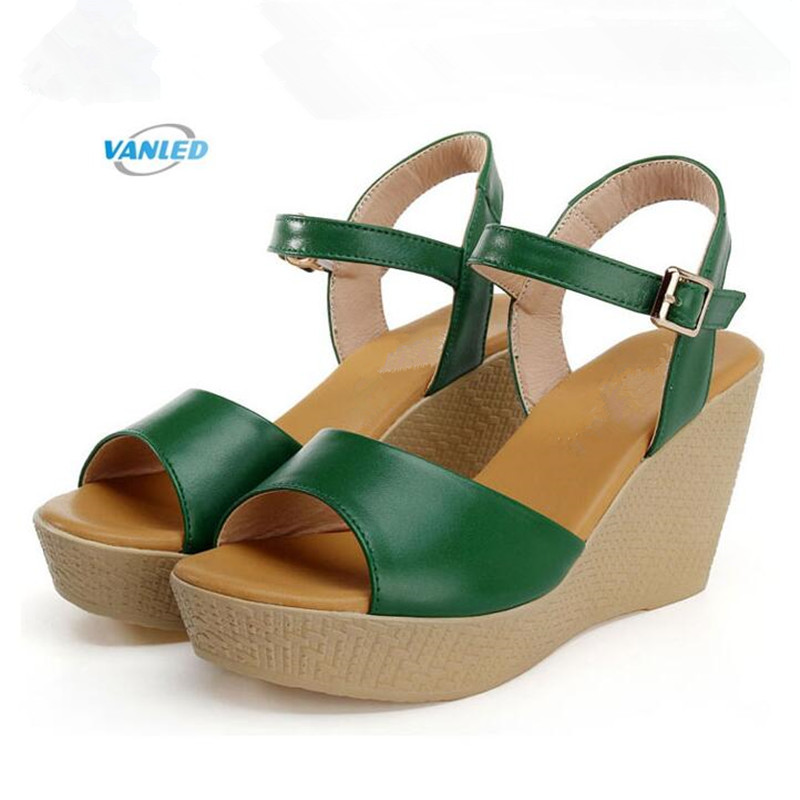 2018 Open Toe Genuine Leather Shoes Summer Women Sandals Thin and Simple Platform Wedges Sandals Casual Shoes High Heel Sandals genuine leather women sandals rural sweet style women shoes butterfly beading crystal wedges shoes high heel sandals dress shoes