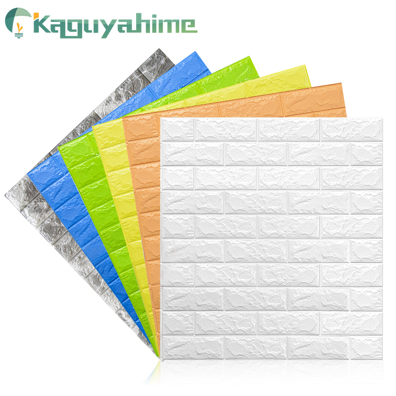 Kaguyahime Self-Adhesive 3D Wall Sticker Imitation Brick Marble Embossed DIY Home Decoration Wallpaper Kidroom Kitchen Bedroom