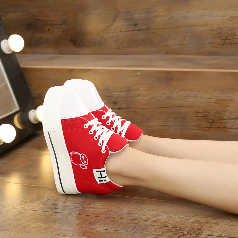 2018 new women's single shoes 8 cm increase casual shoes thick-soled student sneakers 2