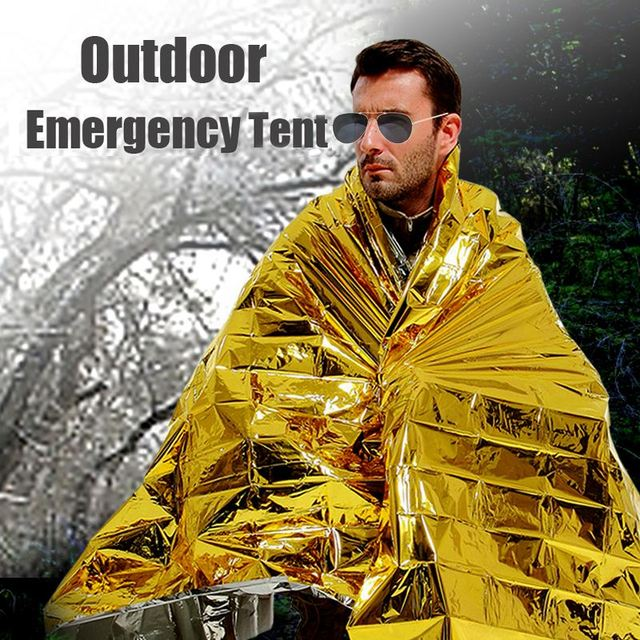 140 x 210cm Outdoor camping equipment Emergency Cold-proof Waterproof Blanket Tent Survival Rescue Camping Shelter