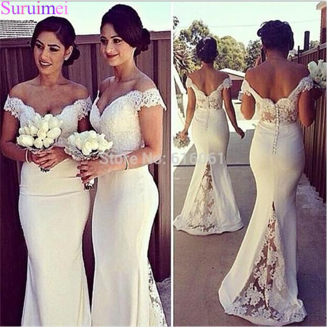 Mermaid 2018 Lace Bridesmaid Dresses Off The Shoulder Vestido Satin Ivory Bridal  Wedding Party Dress Gowns Vestido De Festa e958e3b4e573