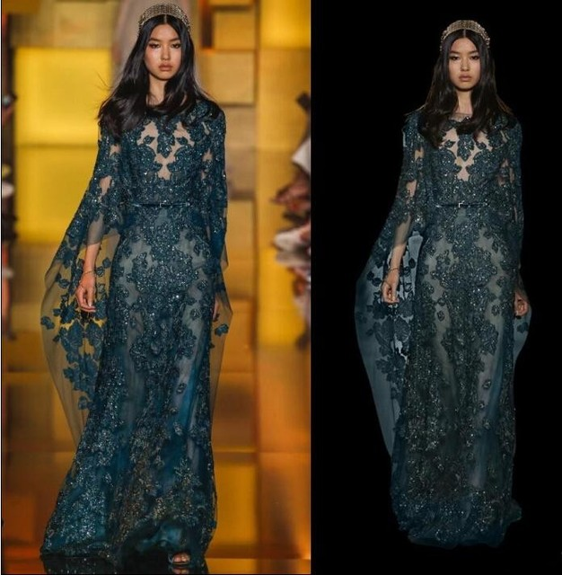 cab3f2ae473 New Couture Elie Saab Evening Dresses Capes Sleeves Lace Appliques Custom Prom  Dresses vestido de festa imported party dress