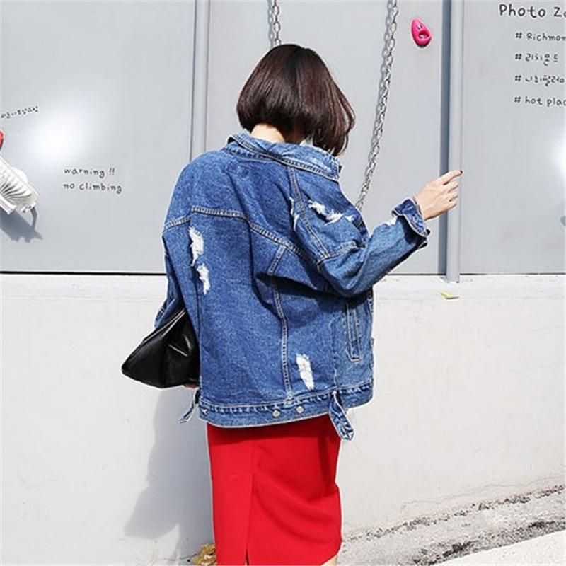 RUGOD 2018 Vintage Fashion Wash Water Denim Jacket badge Loose BF Denim Coat Hole Female Outerwear Plus Size Chaquetas Mujer 2