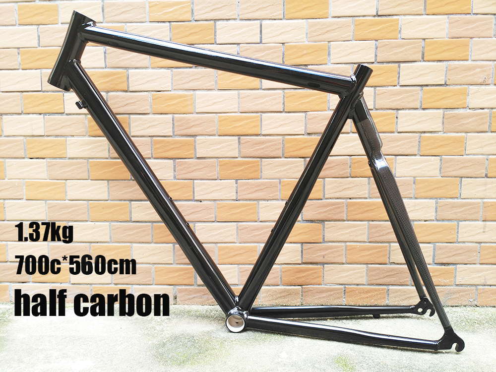 цены super price stock half 3K carbon half aluminum 7005 700c inner cable 560mm road bike frame