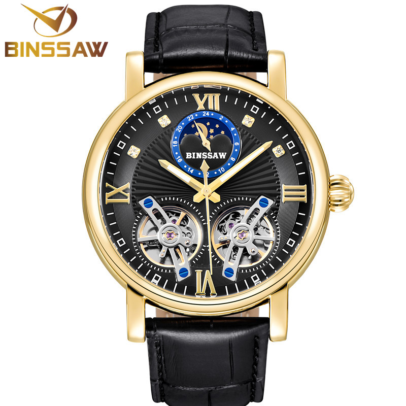 BINSSAW New Automatic Mechanical Watch Men Luxury Brand Double Tourbillon Leather Waterproof Sports Watches Relogio MasculinoBINSSAW New Automatic Mechanical Watch Men Luxury Brand Double Tourbillon Leather Waterproof Sports Watches Relogio Masculino