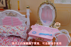 Image 5 - Genuine furniture bedroom for barbie princess bed doll accessories 1/6 bjd doll house mini dresser cupboard set child toy gift