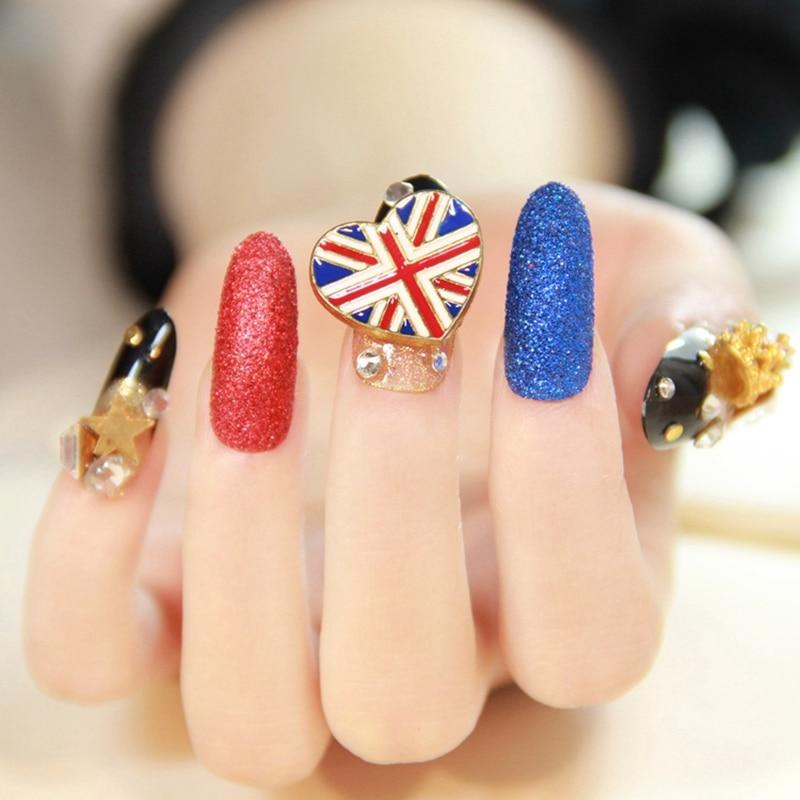 3d Uv Long Nail Art Decoration Tips Uk Flag Crystal Designed Frosted