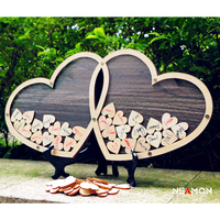 80PCS 3X3CM Small Hearts Double Hearts Wedding Guest Book Alternative Wooden Guest Book Wedding Decoration 44*22CM