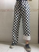 Cordón elástico alta cintura vendimia del tablero a cuadros recta pantalones  Street Kpop moda Sweatpant plancha 9ef233521ae