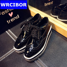 Genuine leather Oxford Shoes font b Woman b font Platform shoes 2017 Fashion Fretwork lace up