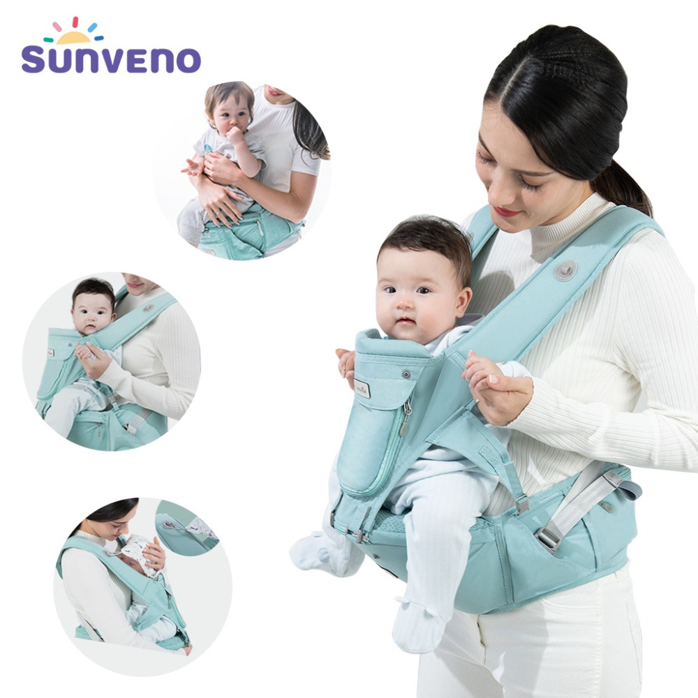 Sunveno Baby Carrier Front Facing Hipseat Kangaroo Ergonomic Baby Sling Carriers for Newborn Toddler Kids Loading