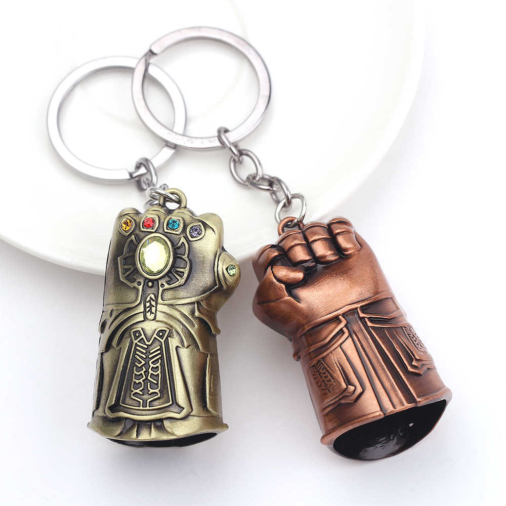 2019 New Marvel Avengers 3 Thanos Infinity Glove Gauntlet Keychain Anime Key Ring For Gift Chaveiro Key chain Jewelry Porte Clef