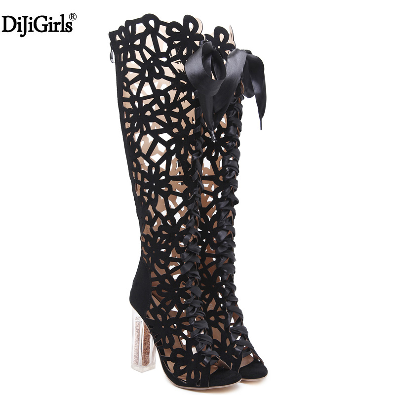 Women Sandals Fashion Woman Knee High Gladiator Sandals Strap High-Heeled Boots Designer Shoes Transparent High Heels Sandals
