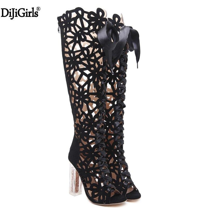 Women Sandals Fashion Woman Knee High Gladiator Sandals Strap High-Heeled Boots Designer Shoes Transparent High Heels Sandals