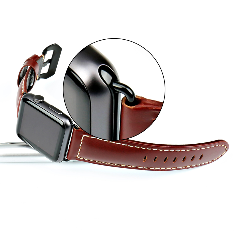 MAIKES äkta läder 44mm 40mm För Apple klocka band armband för - Tillbehör klockor - Foto 5
